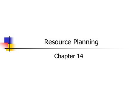 Resource Planning Chapter 14. MGMT 326 Foundations of Operations Introduction Strategy Managing Projects Quality Assurance Facilities & Work Design Products.
