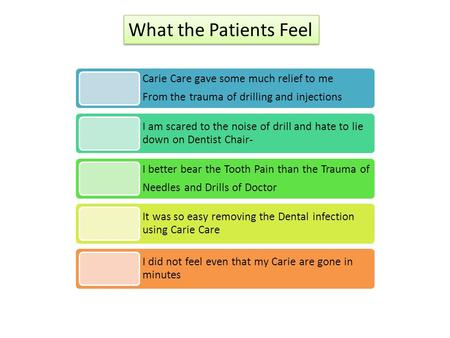 Carie Care gave some much relief to me From the trauma of drilling and injections I am scared to the noise of drill and hate to lie down on Dentist Chair-