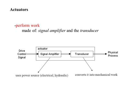 Actuators -perform work made of: signal amplifier and the transducer uses power source (electrical, hydraulic) converts it into mechanical work.