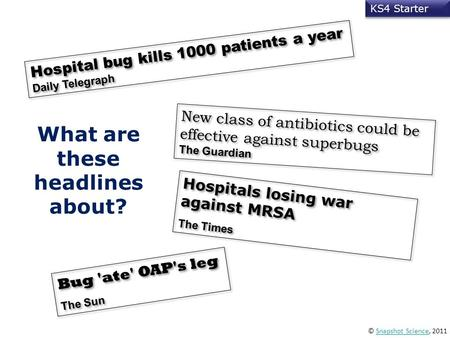 © Snapshot Science, 2011Snapshot Science KS4 Starter What are these headlines about? Hospital bug kills 1000 patients a year Daily Telegraph New class.