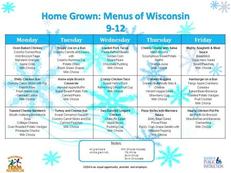 USDA is an equal opportunity provider and employer. Home Grown: Menus of Wisconsin 9-12 Notes: Milk Choice includes: 1% White Skim White Skim Chocolate.