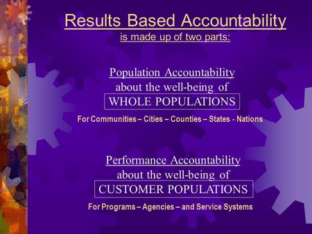 Results Based Accountability is made up of two parts: Performance Accountability about the well-being of CUSTOMER POPULATIONS For Programs – Agencies –