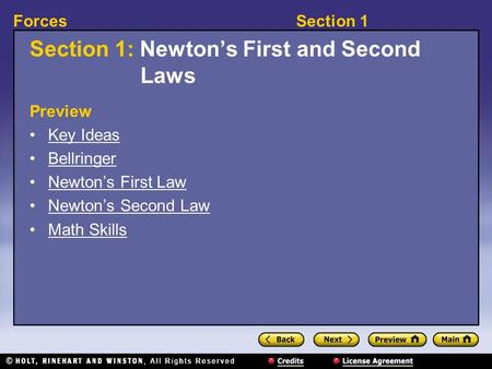 Section 1: Newton's First and Second Laws