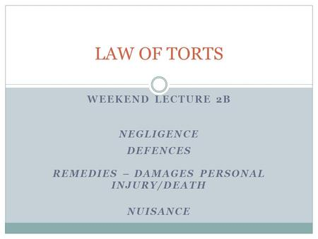 defences to the tort of negligence The most common kind of unintentional tort is negligence  defences to  negligence if you are sued for negligence, in your defence you can provide  evidence to.