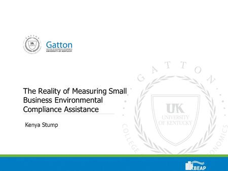 The Reality of Measuring Small Business Environmental Compliance Assistance Kenya Stump.