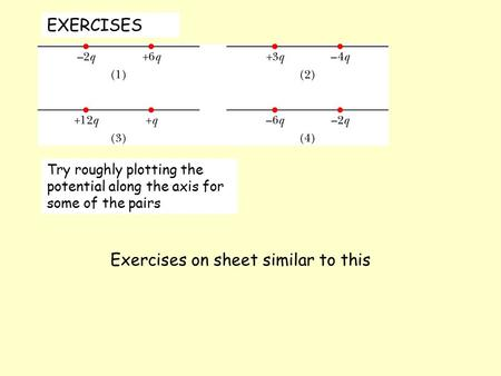 EXERCISES Try roughly plotting the potential along the axis for some of the pairs Exercises on sheet similar to this.