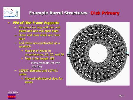 W.O. Miller i T i VG 1 Example Barrel Structures- Disk Primary FEA of Disk Frame Supports FEA of Disk Frame Supports –Structure 2m long with two end plates.