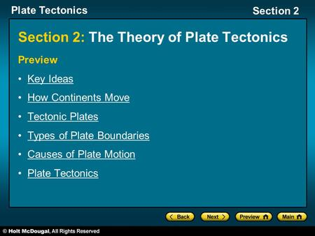 Section 2: The Theory of Plate Tectonics