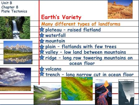 Many different types of landforms