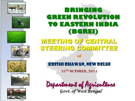 BRINGING GREEN REVOLUTION TO EASTERN INDIA (BGREI) MEETING OF CENTRAL STEERING COMMITTEE at KRISHI BHAWAN, NEW DELHI 31 ST OCTOBER, 2014 Department of.