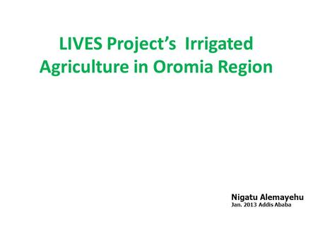 LIVES Project's Irrigated Agriculture in Oromia Region Nigatu Alemayehu Jan. 2013 Addis Ababa.