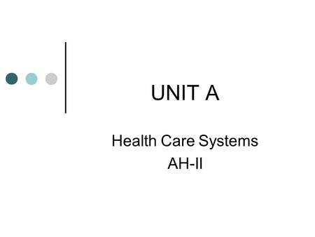 UNIT A Health Care Systems AH-II Objectives: Analyze health care facilities including government, profit and non-profit agencies. Explore health insurance,