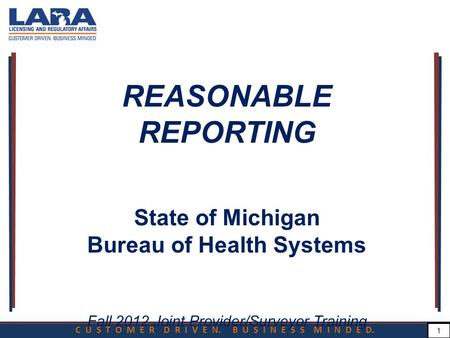 C U S T O M E R D R I V E N. B U S I N E S S M I N D E D. 1 REASONABLE REPORTING State of Michigan Bureau of Health Systems Fall 2012 Joint Provider/Surveyor.