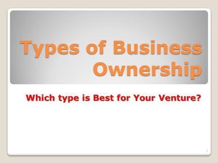 Types of Business Ownership Which type is Best for Your Venture? 1.