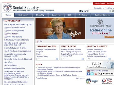 "This is the main Social Security website - www.socialsecurity.gov. Click on the ""Apply for Medicare"" tab on the left to start the Medicare application."