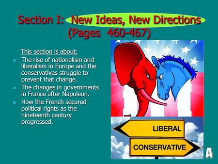 Section I: New Ideas, New Directions (Pages 460-467) This section is about: This section is about: The rise of nationalism and liberalism in Europe and.