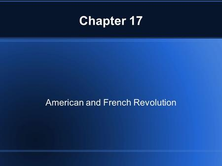 American and French Revolution