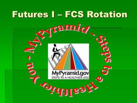 Futures I – FCS Rotation One Size Does Not Fit All!  USDA created 12 pyramids for 12 calorie levels from 1,000 to 3,200.  Calorie levels are based.