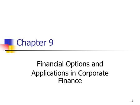 1 Chapter 9 Financial Options and Applications in Corporate Finance.