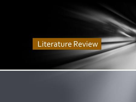 Literature Review. What is a literature review? A literature review discusses published information in a particular subject area, and sometimes information.