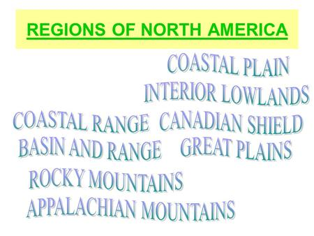 REGIONS OF NORTH AMERICA. Name That Region 1 Coastal Plain 2 Appalachian Highlands 3 Canadian Shield 4 Interior Lowlands 5 Great Plains 6 Rocky Mountains.
