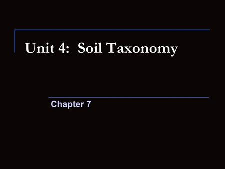 Unit 4: Soil Taxonomy Chapter 7. Objectives Understand categories of the U.S. taxonomic system How soil properties help distinguish soil families Knowledge.