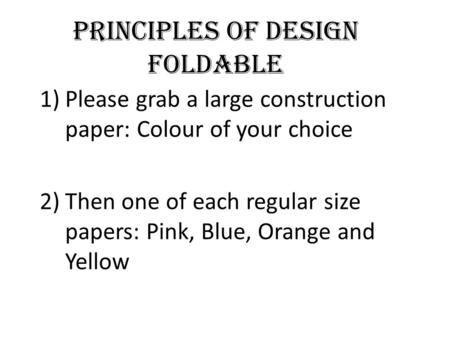 Principles of Design Foldable