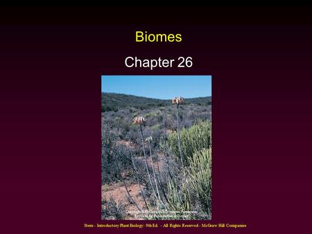 Stern - Introductory Plant Biology: 9th Ed. - All Rights Reserved - McGraw Hill Companies Biomes Chapter 26 Copyright © McGraw-Hill Companies Permission.