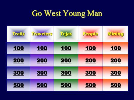 Go West Young Man TrailsTravelersTejasPeopleMining 100 200 300 500.