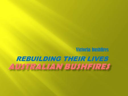 REBUILDING THEIR LIVES Victoria bushfires.  Water.  Electricity.  Roads-tarsal road surface.  Hospitals.  Police stations.  Fire department.  People.
