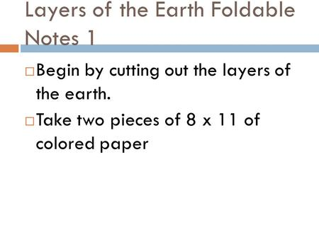 Layers of the Earth Foldable Notes 1
