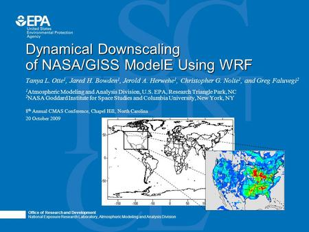 "Office of Research and Development National Exposure Research Laboratory, Atmospheric Modeling and Analysis Division Photo image area measures 2"" H x 6.93"""