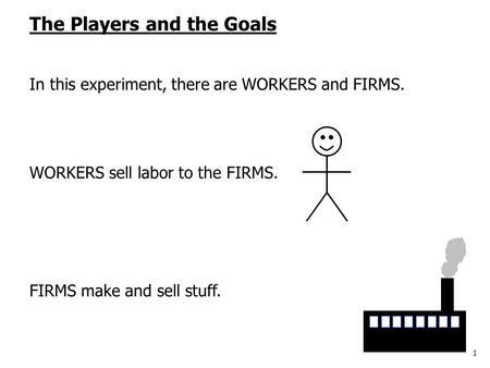 1 The Players and the Goals In this experiment, there are WORKERS and FIRMS. WORKERS sell labor to the FIRMS. FIRMS make and sell stuff.