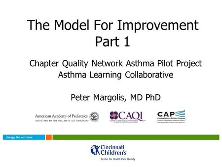 The Model For Improvement Part 1 Chapter Quality Network Asthma Pilot Project Asthma Learning Collaborative Peter Margolis, MD PhD.