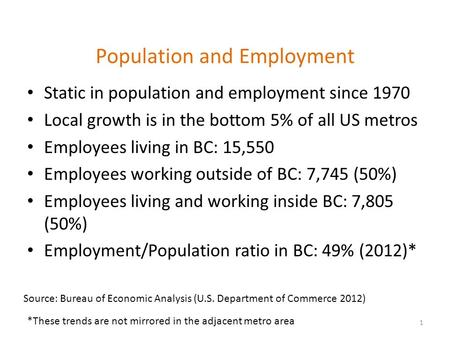 Population and Employment Static in population and employment since 1970 Local growth is in the bottom 5% of all US metros Employees living in BC: 15,550.