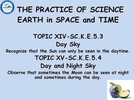 THE PRACTICE OF SCIENCE EARTH in SPACE and TIME TOPIC XIV-SC.K.E.5.3 Day Sky Recognize that the Sun can only be seen in the daytime. TOPIC XV-SC.K.E.5.4.