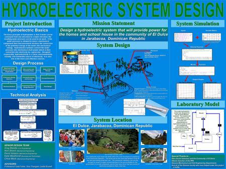 Design a hydroelectric system that will provide power for the homes and school house in the community of El Dulce in Jarabacoa, Dominican Republic Hydroelectric.