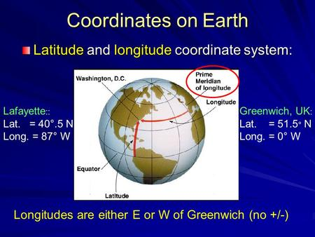 Coordinates on Earth Latitude and longitude coordinate system: Lafayette :: Lat. = 40°.5 N Long. = 87° W Greenwich, UK : Lat. = 51.5 ° N Long. = 0° W Longitudes.