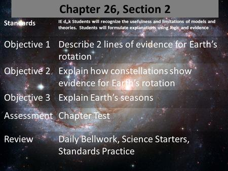 Standards IE d,,k Students will recognize the usefulness and limitations of models and theories. Students will formulate explanations using logic and evidence.