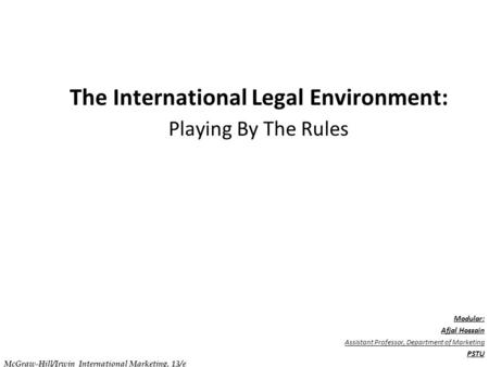 . C h a p t e r 0 7 The International Legal Environment: Playing By The Rules Modular: Afjal Hossain Assistant Professor, Department of Marketing PSTU.