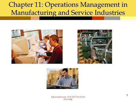 Exploring Business 2.0 © 2012 Flat World Knowledge 1 Chapter 11: Operations Management in Manufacturing and Service Industries.