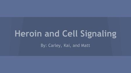 Heroin and Cell Signaling