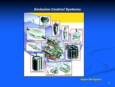 1 Emission Control Systems Roger Bortignon. 2 Vehicle Pollution Sources 3 areas of a vehicle that can pollute…3 areas of a vehicle that can pollute… 