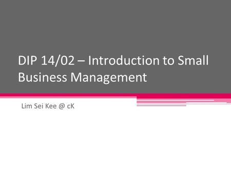 DIP 14/02 – Introduction to Small Business Management Lim Sei cK.
