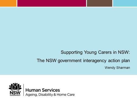 Supporting Young Carers in NSW: The NSW government interagency action plan Wendy Sharman.