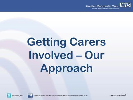 Getting Carers Involved – Our Approach. Who Am I? Who Are We?