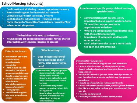 Key Messages Confirmation of all the key themes in previous summary Transitional support for those with extra needs Confusion over health in college/ 6.