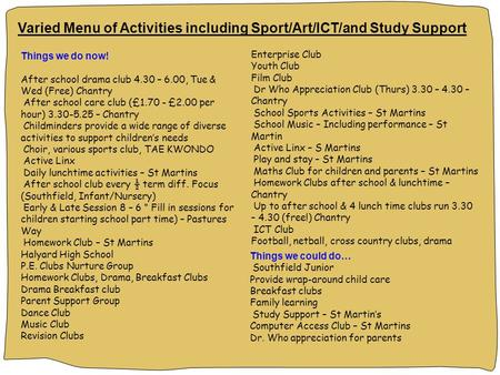 Varied Menu of Activities including Sport/Art/ICT/and Study Support Things we do now! After school drama club 4.30 – 6.00, Tue & Wed (Free) Chantry After.