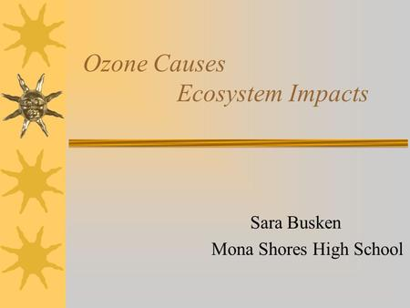 Ozone Causes Ecosystem Impacts Sara Busken Mona Shores High School.