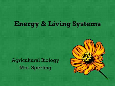 Energy & Living Systems Agricultural Biology Mrs. Sperling.